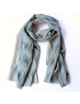 Echarpe laine et soie naturel-indigo COCOON