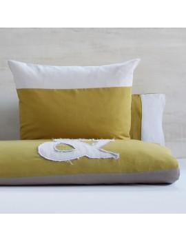Housse de couette avec applique & jaune gold