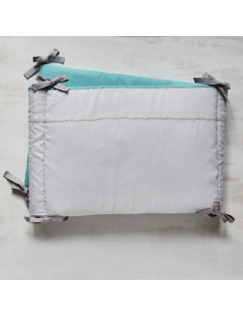 Tour de lit Bleu Aqua & Gris lune - CROSS STICH