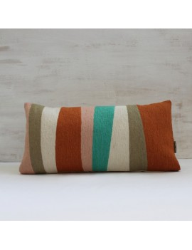 coussin terracotta turquoise et taupe RYTHME