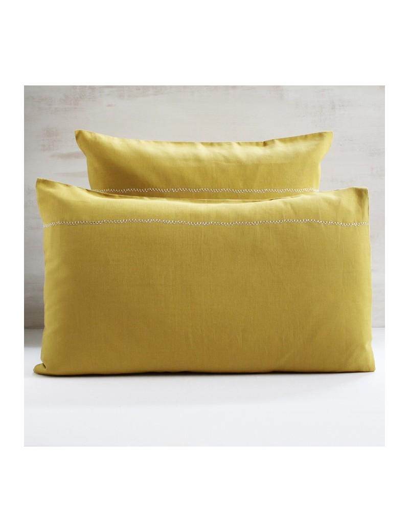 Taie d'oreiller jaune gold CROSS STITCH