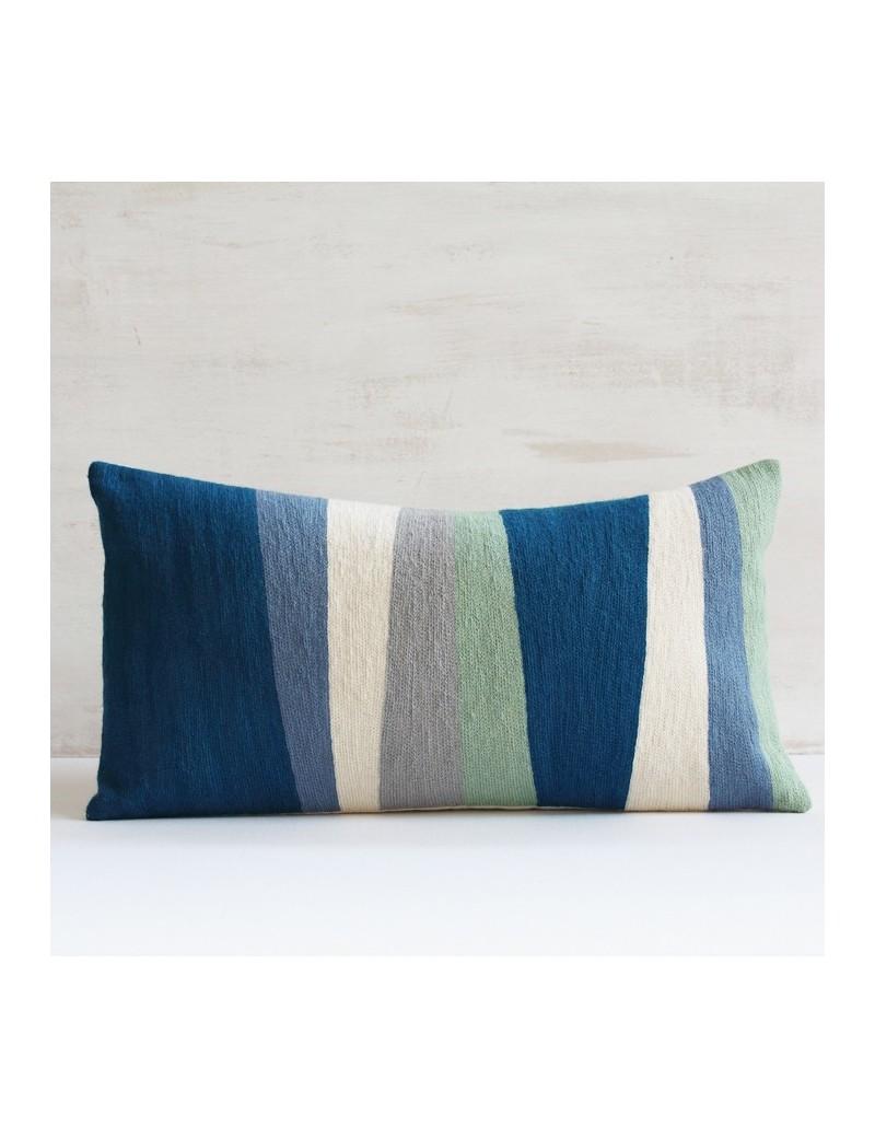 Coussin bleu, vert, gris RYTHME