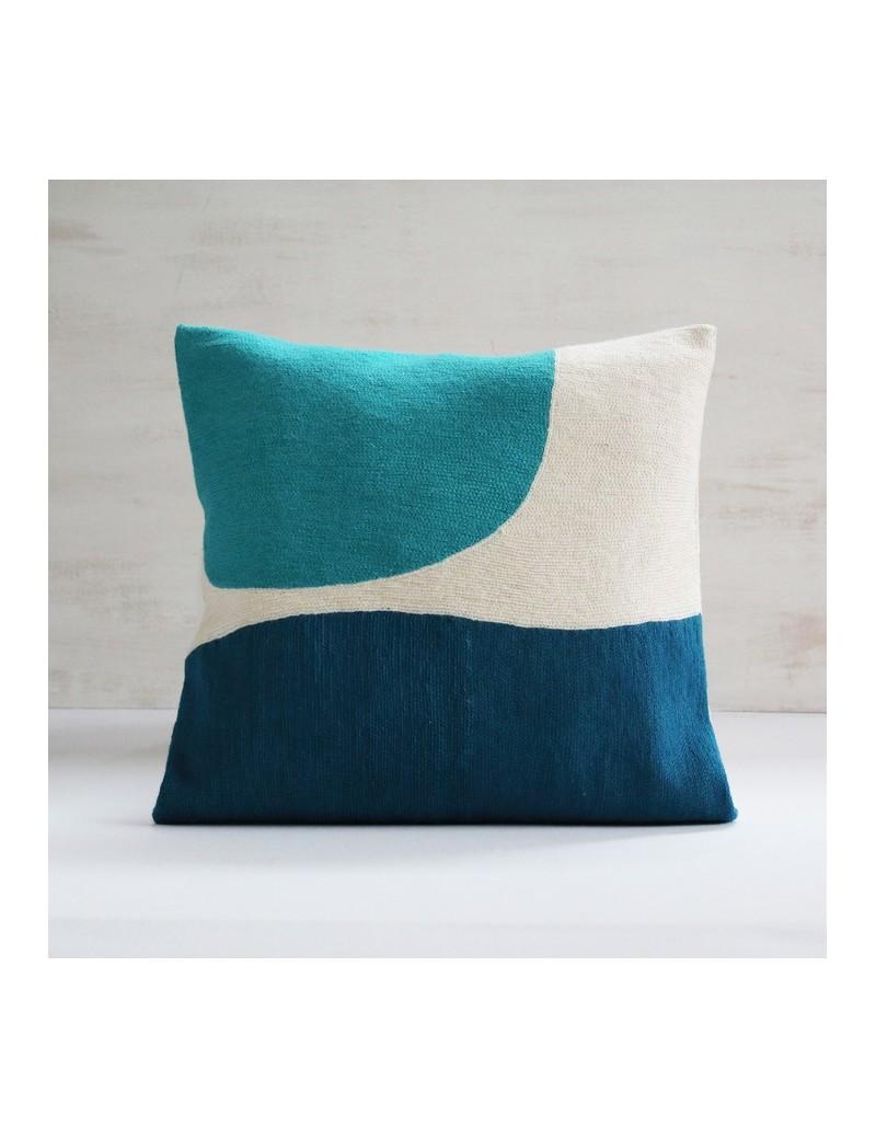 Coussin bleu canard et turquoise CORNER
