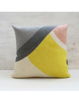 Housse de coussin DISQUE jaune et gris