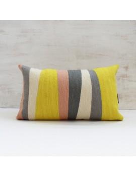 Coussin gris, jaune, rose RYTHME