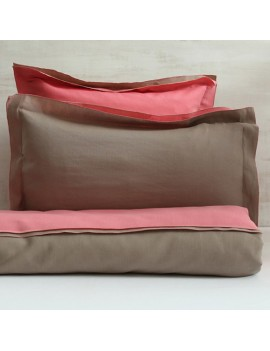 Taie d'oreiller rose flamant & taupe VICE VERSA