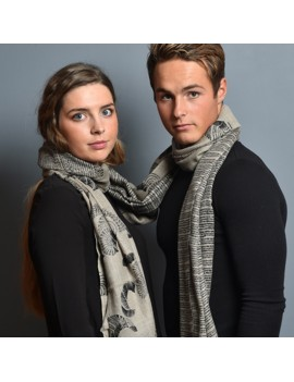 Echarpe laine et soie naturel-noir PULSE