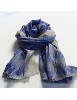 Echarpe laine et soie naturel-bleu COCOON