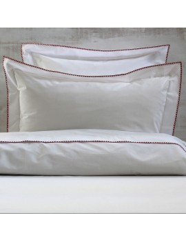 Housse de couette CRAFT Blanc broderie rouge