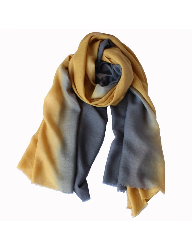 Echarpe BI jaune gold et gris orage