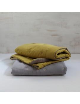 couvre lit jaune gold et taupe ETOILE