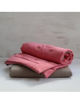 couvre lit rose flamant et taupe ETOILE