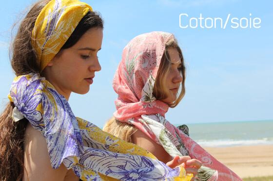 foulard-coton-soie-jaune-rose
